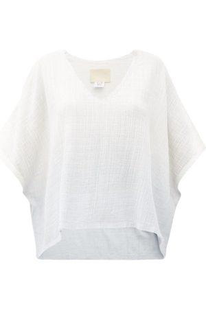 Anaak Kai V-neck Dip-dyed Cotton Top - Womens - Multi