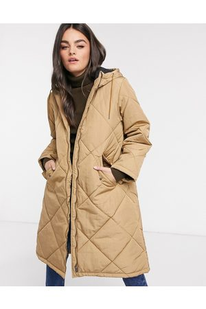 Selected Femme oversized quilted jacket in tan