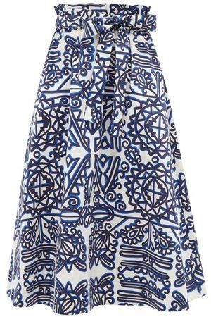La DoubleJ Sardegna High-rise Carpathian-print Midi Skirt - Womens