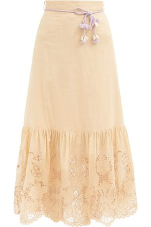 ZIMMERMANN Women Midi Skirts - Brighton Belted Broderie-anglaise Cotton Skirt - Womens