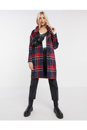 Liquorish Boxy straight coat in red/ navy check-Multi