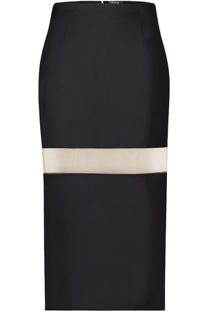 MUGLER Mesh-insert wool pencil skirt