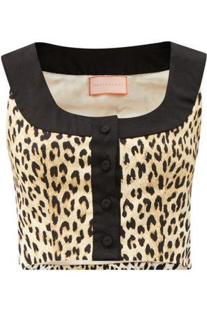 MARTA FERRI X Pierre Frey Animalier Cotton-blend Crop Top - Womens - Animal