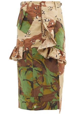 THORNTON BREGAZZI Floral Upcycled Camouflage Cotton-blend Midi Skirt - Womens - Camouflage