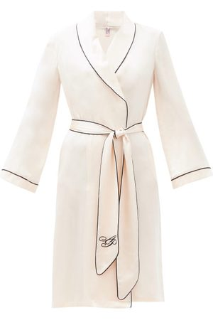 Agent Provocateur Classic Piped-trim Silk-satin Robe - Womens - Light