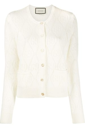 Gucci GG perforated wool cropped cardigan