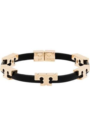 Tory Burch Women Bracelets - Serif-T 18kt gold-plated stackable leather bracelet