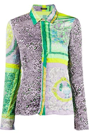 VERSACE Women Shirts - Barocco Patchwork print satin shirt