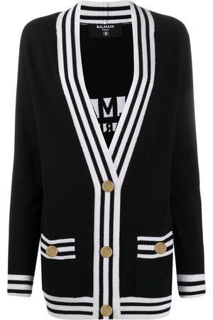 Balmain Women Cardigans - Stripe-trim longline cardigan