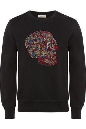 Alexander McQueen Men Sweatshirts - Men's Embellished Skull Embroidered Sweatshirt - - Size Large