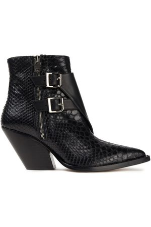 IRO Woman Snake-effect And Smooth Leather Ankle Boots Size 36