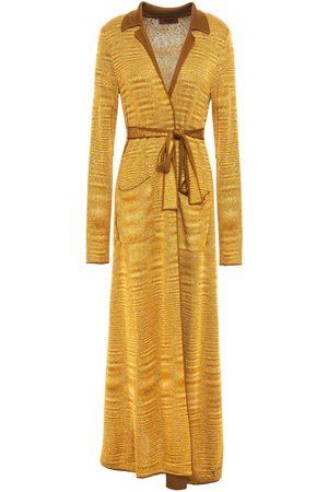 MISSONI Women Cardigans - Woman Belted Sequin-embellished Metallic Crochet-knit Cardigan Size 42