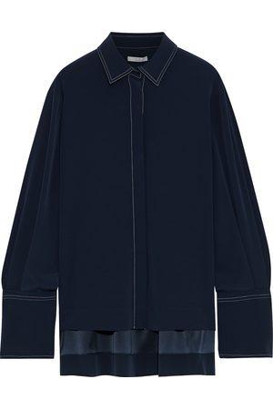 CO Women Long sleeves - Woman Crepe De Chine Shirt Navy Size L