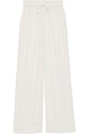 CO Women Wide Leg Pants - Woman Crepe Wide-leg Pants Ivory Size L