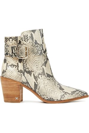 Sam Edelman Women Ankle Boots - Woman Leonia Snake-effect Leather Ankle Boots Animal Print Size 10