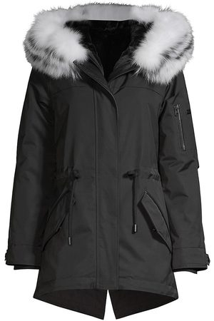 Derek Lam Women's Nylon Fox Fur-Trim Parka - - Size Large