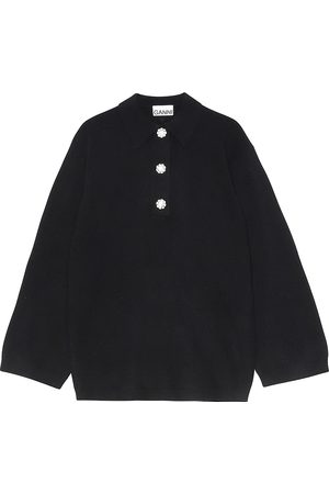 Ganni Women's Crystal Button Cashmere Knit Top - - Size Large/XL