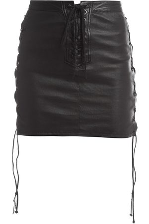 Unravel Project Women's Lace-Up Leather Skirt - - Size 38 (2)