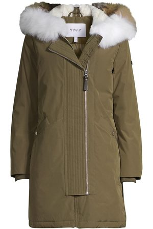 Derek Lam Women's Nylon Fox Fur-Trim Anorak Coat - - Size Large