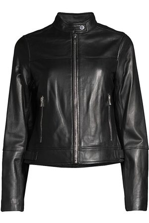 Derek Lam Women's Tab Collar Horizontal Seam Leather Jacket - - Size XS