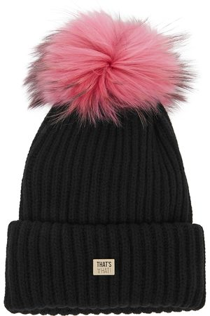 THAT'SAHAT Taupe fur pompom wool-blend beanie