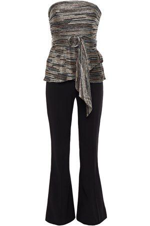 Rebecca Vallance Woman Bellagio Strapless Pleated Metallic Lamé And Crepe Jumpsuit Size 10