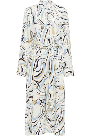 Chinti & Parker Woman Belted Printed Twill Midi Dress Ivory Size 10