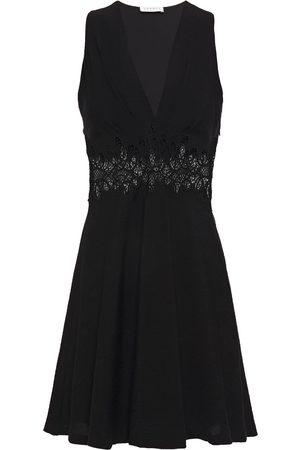 Sandro Woman Elena Flared Guipure Lace-paneled Crinkled-crepe Mini Dress Size 36