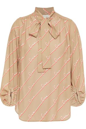Chinti & Parker Woman Pussy-bow Printed Crepe Blouse Sand Size 10