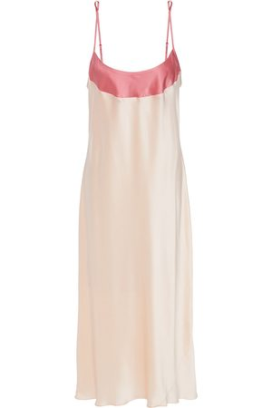 GINIA Woman Two-tone Silk-satin Nightdress Blush Size 10
