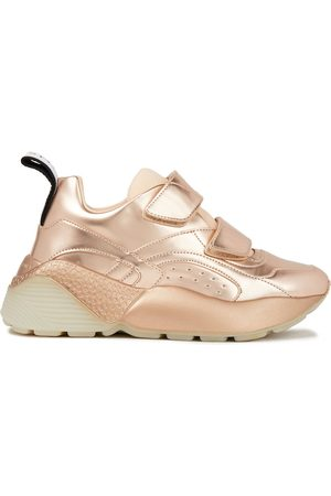 Stella McCartney Woman Scuba And Metallic Faux Leather Exaggerated-sole Sneakers Rose Size 35