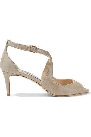 Jimmy Choo Woman Emily 65 Metallic Suede Sandals Sand Size 35