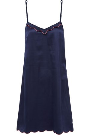 GINIA Woman Embroidered Satin Chemise Navy Size 12