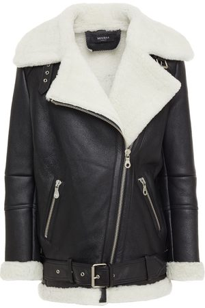 Muubaa Woman Shearling Biker Jacket Size 10