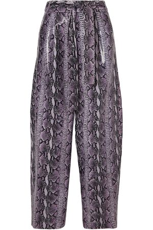 SALLY LAPOINTE Woman Glossed Snake-effect Leather Tapered Pants Lilac Size 2