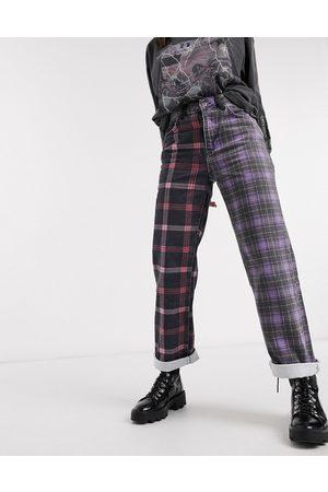 The Ragged Priest Dad jeans in half and half plaid denim