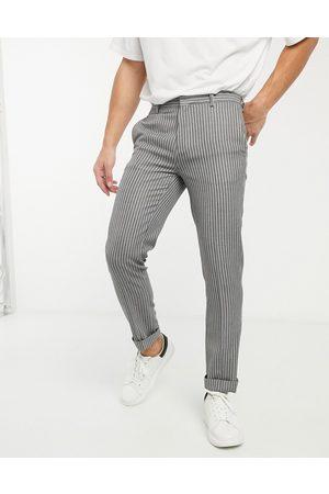River Island Skinny smart pants in stripe-Grey