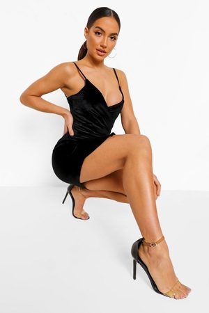 Boohoo Womens Velvet Wrap Bodycon Dress - - 4