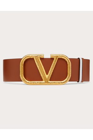 VALENTINO GARAVANI Women Belts - Reversible Vlogo Signature Belt In Grainy Calfskin 70 Mm Women Saddle/ 100% Pelle Di Vitello - Bos Taurus 75