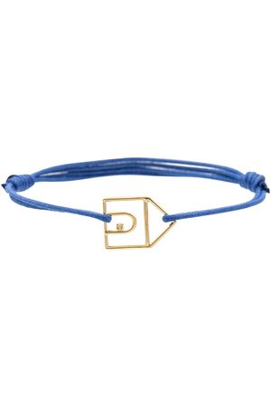Aliita Casita Brillante 9kt gold charm cord bracelet with white diamond