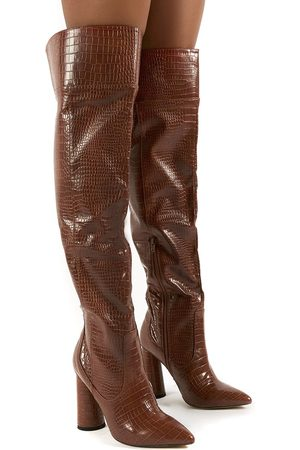 Public Desire US Hometown Wide Fit Croc Over The Knee Heeled Boots - US 5