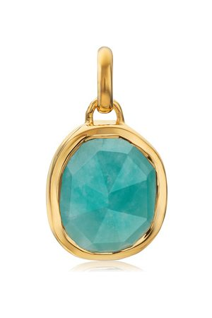 Monica Vinader Gold Siren Medium Bezel Pendant Charm Amazonite