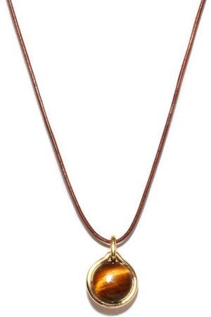 Fernando Jorge Tiger Eye, 18kt And Leather Pendant Necklace - Mens