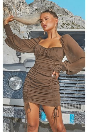 PRETTYLITTLETHING Taupe Chiffon Long Sleeve Ruched Skirt Bodycon Dress