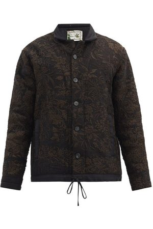 BY WALID Jono Upcycled Silk And Wool Patchwork Jacket - Mens - Navy