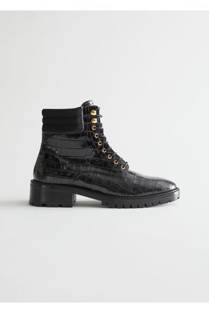 & OTHER STORIES Croc Embossed Chunky Leather Boots
