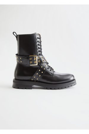 & OTHER STORIES Leather Studded Strap Boots