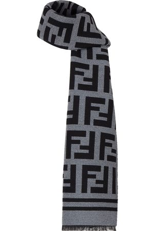Fendi FF print frayed scarf - Grey