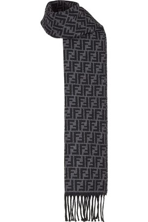 Fendi FF pattern fringed scarf - Grey