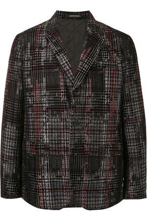Emporio Armani Houndstooth check cotton blazer - Grey